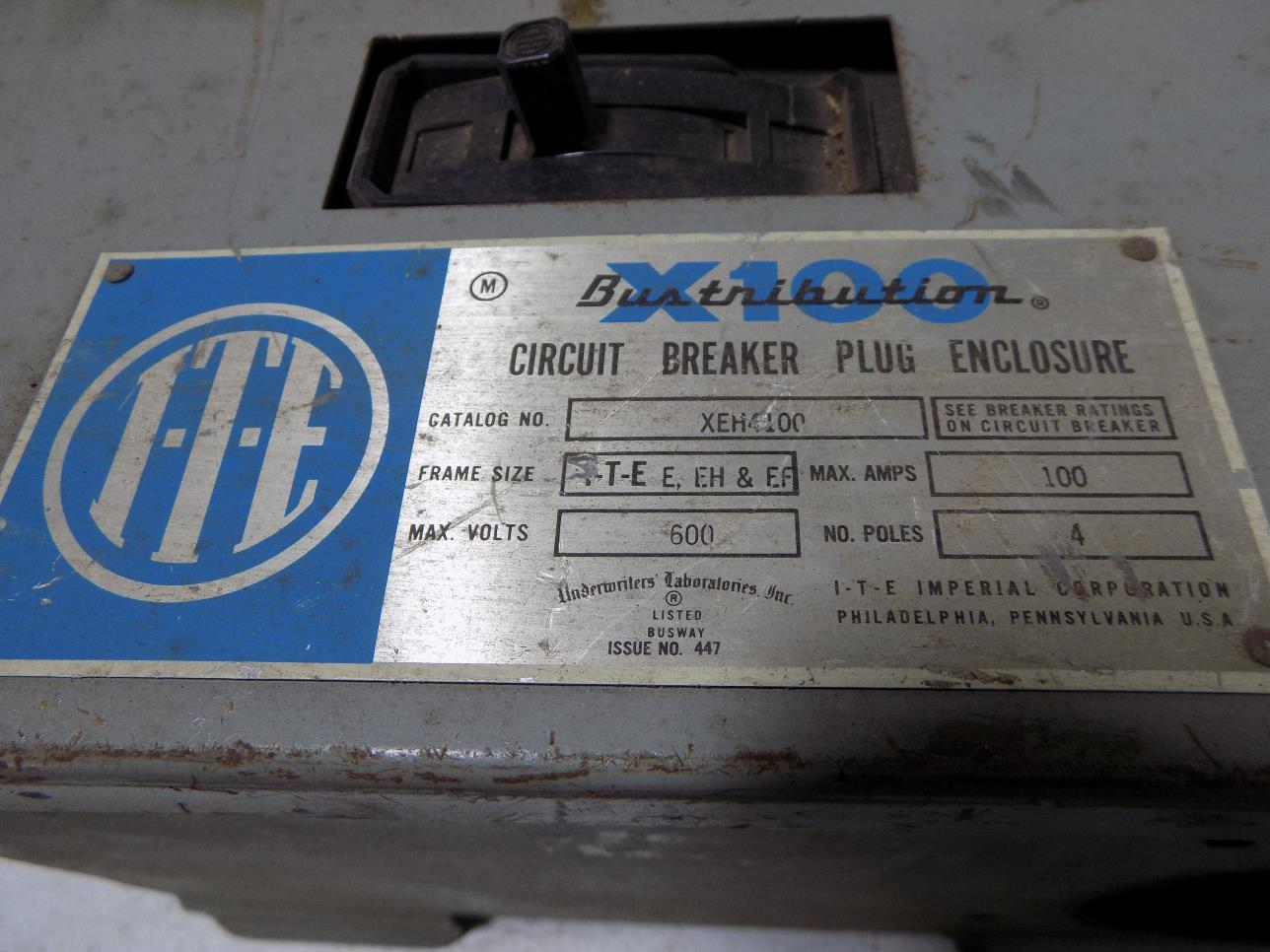 I T E 100a Circuit Breaker Bus Plug Enclosure Xeh4100 Ebay Used Breakers Ite E43b060 60 Amp 3 Pole