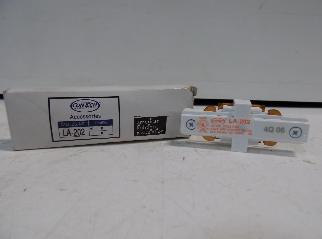 Details about con tech lighting 2 circuit track mini connector la 202 nib