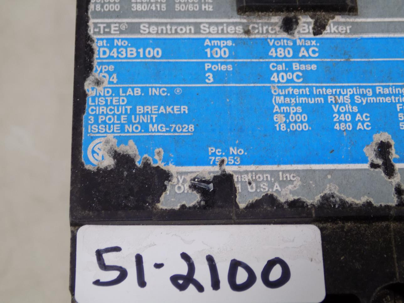 Siemens I T E Sentron Series 100a 480vac 3p Circuit Breaker Ed43b100 Used Breakers Ite E43b060 60 Amp 3 Pole