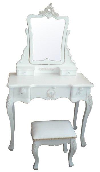 Dressing Table With Mirror And Stool: SHABBY CHIC,FRENCH,WHITE DRESSING TABLE,STOOL & MIRROR,