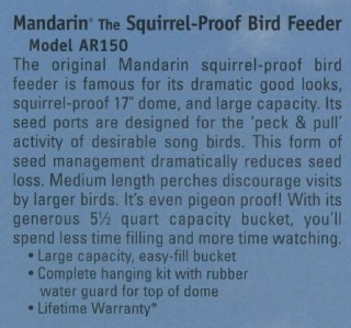 new mandarin squirrel proof bird feeder