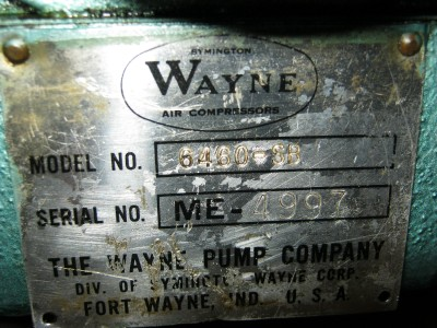 Wayne Vaughn Air Compressor Model 6460 Sb Compressor Only