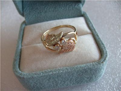 Vintage Antique 10k 12k Black Hills Gold Diamond Ring