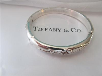 168a47891 Tiffany & Co Nature Rose Sterling Silver Bangle Bracelet Retired | eBay