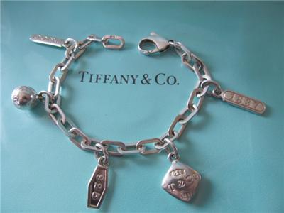 Tiffany Co 1837 Five Charm Sterling Silver Rectangular Links Bracelet