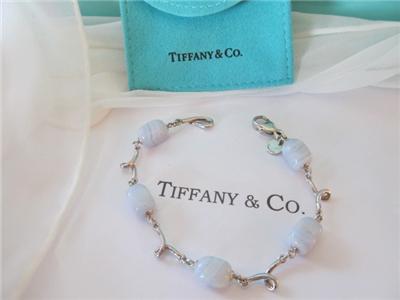 6580f11e4 Vintage Tiffany & Co. Blue Lace Chalcedony Sterling Silver Bracelet ...