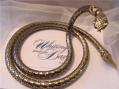 Vintage Whiting Amp Davis Gold Mesh Snake Belt Necklace Signed Ebay
