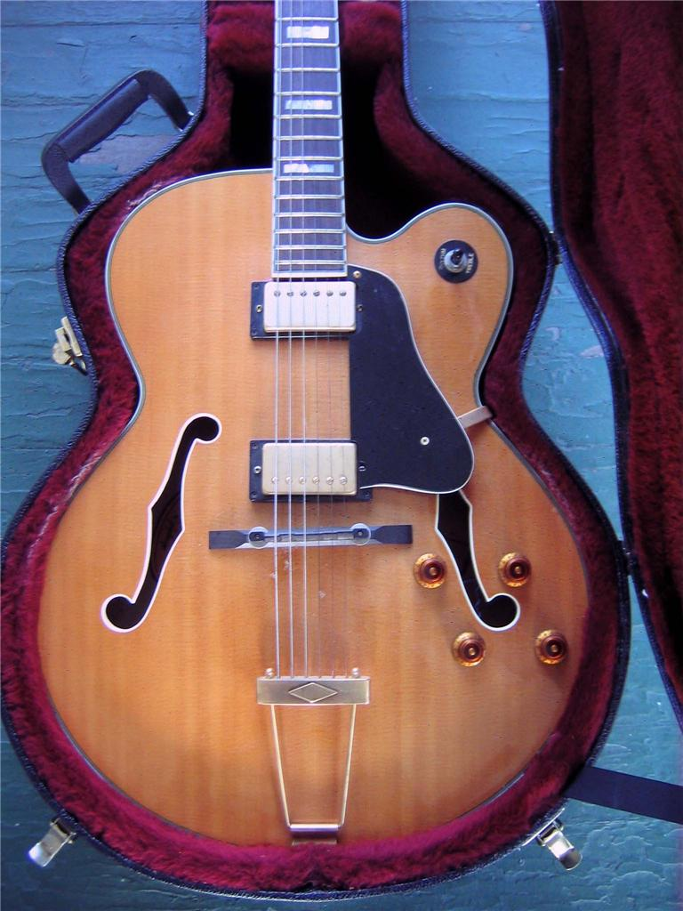 very early rare gibson epiphone natural blond jumbo hollow body electric guitar. Black Bedroom Furniture Sets. Home Design Ideas