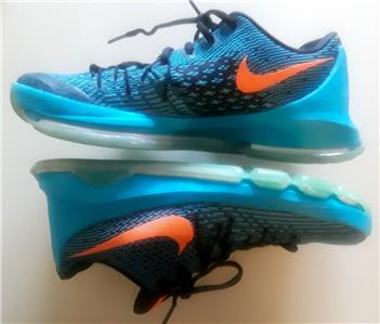 hot sale online 78081 18f3a NIKE MEN S RUNNING SHOES PRE OWNED STYLE   KD 8 BIG CHUCKY IN BLUE  LEGION BRIGHT CITRUS BLACK THE SHOES ARE VERY CLEAN, HAVE MINIMULA SOLE AND  UPPER WEAR ...