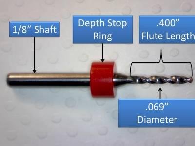 """1.75mm 1//8/"""" Shank Carbide Drill Bits FIVE Pcs Wood Plastic Metal cnc R .069/"""""""