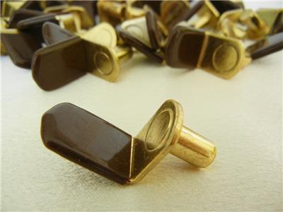 "12 Pieces Pk 1//4/"" Bracket Style Shelf Support Peg w// Brown Vinyl Sleeve P Brass"