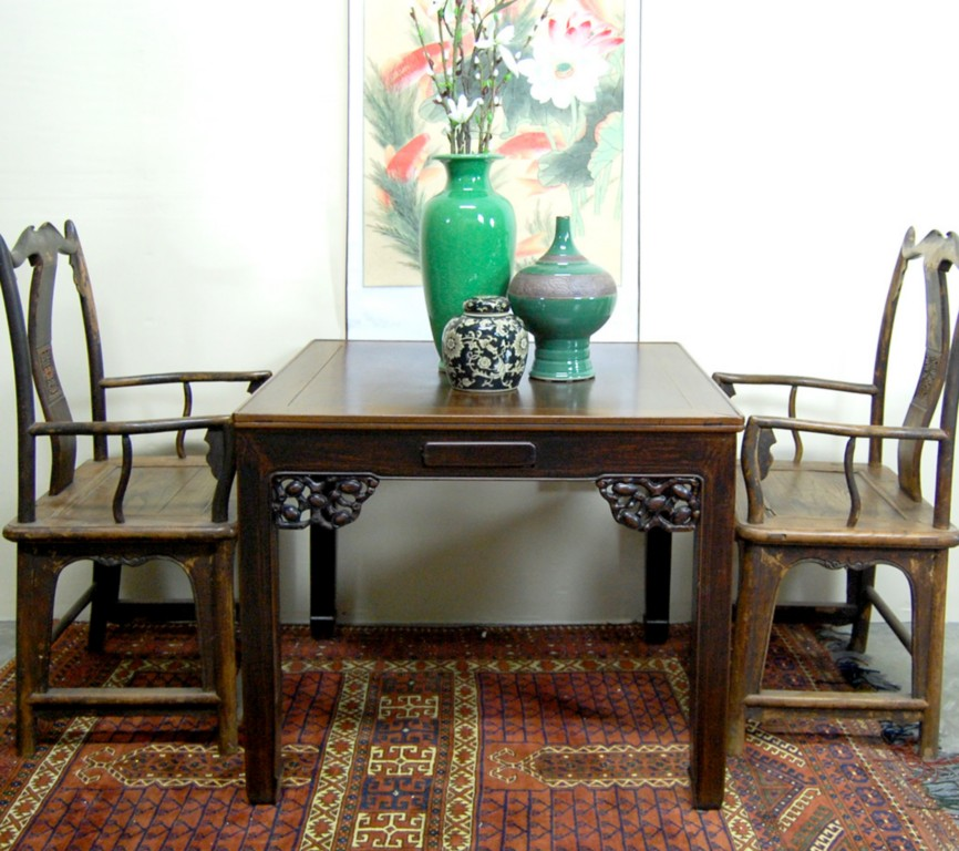 Chinese Dining Table: ANTIQUE MAH JONG DINING TABLE Asian Chinese W/ Drawers