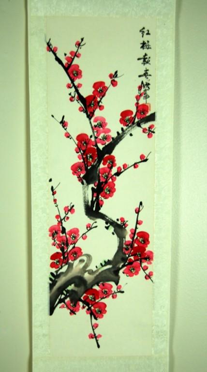 Scroll Cherry Blossom Wall Art Feng Shui Chinese Sakura Ebay