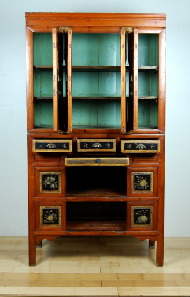 Antique Kitchen Pantry Cabinet Fujian Chinese Pine Wood