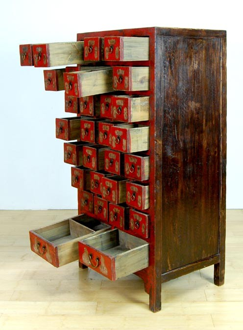 Vintage Apothecary Cabinet 28 Drawer Herb Chest Asian Ebay