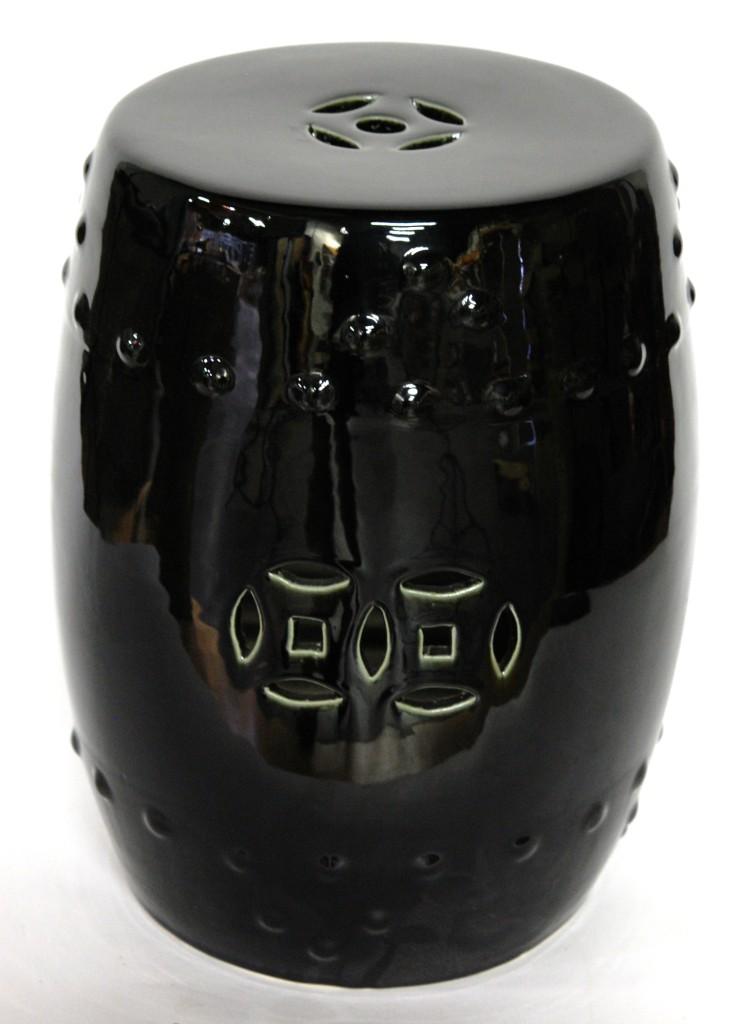 Ceramic Garden Stool Black Porcelain Side Seat Stand