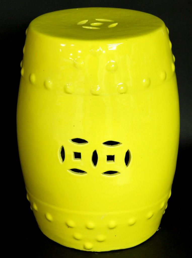 Ceramic Garden Stool Yellow Porcelain Side Stand Table Ebay