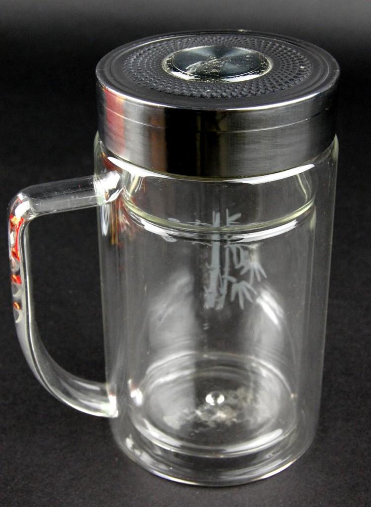 Insulated Glass Tea Thermos 9oz Bamboo Travel Mug Infuser