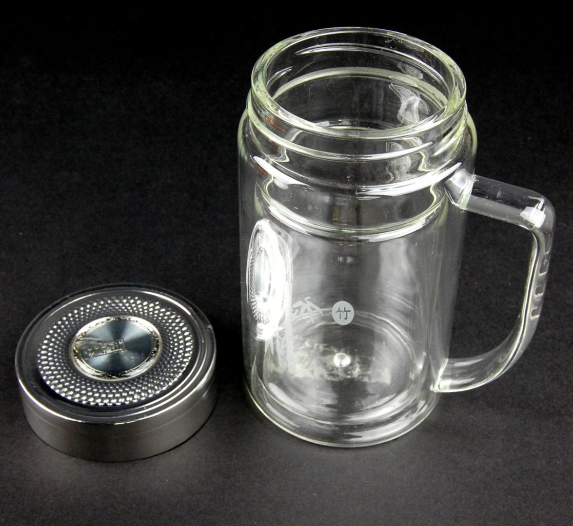 Insulated Glass Tea Thermos 9oz Bamboo Travel Mug Infuser