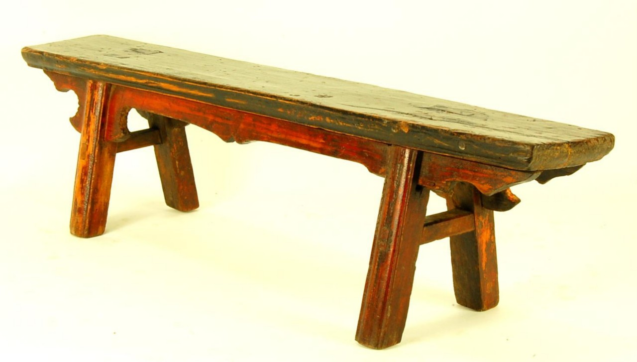 Antique Cypress Wood Bench Sm Seat Stand Step Stool Plant