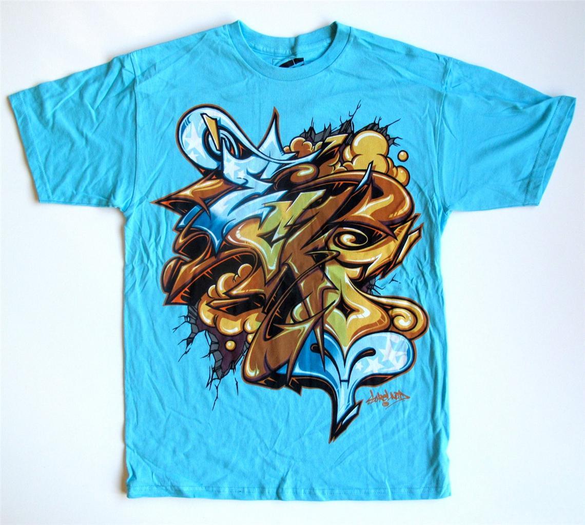 Ecko unltd blue graffiti t shirt sizes m xl 2xl msrp 24 00 ebay