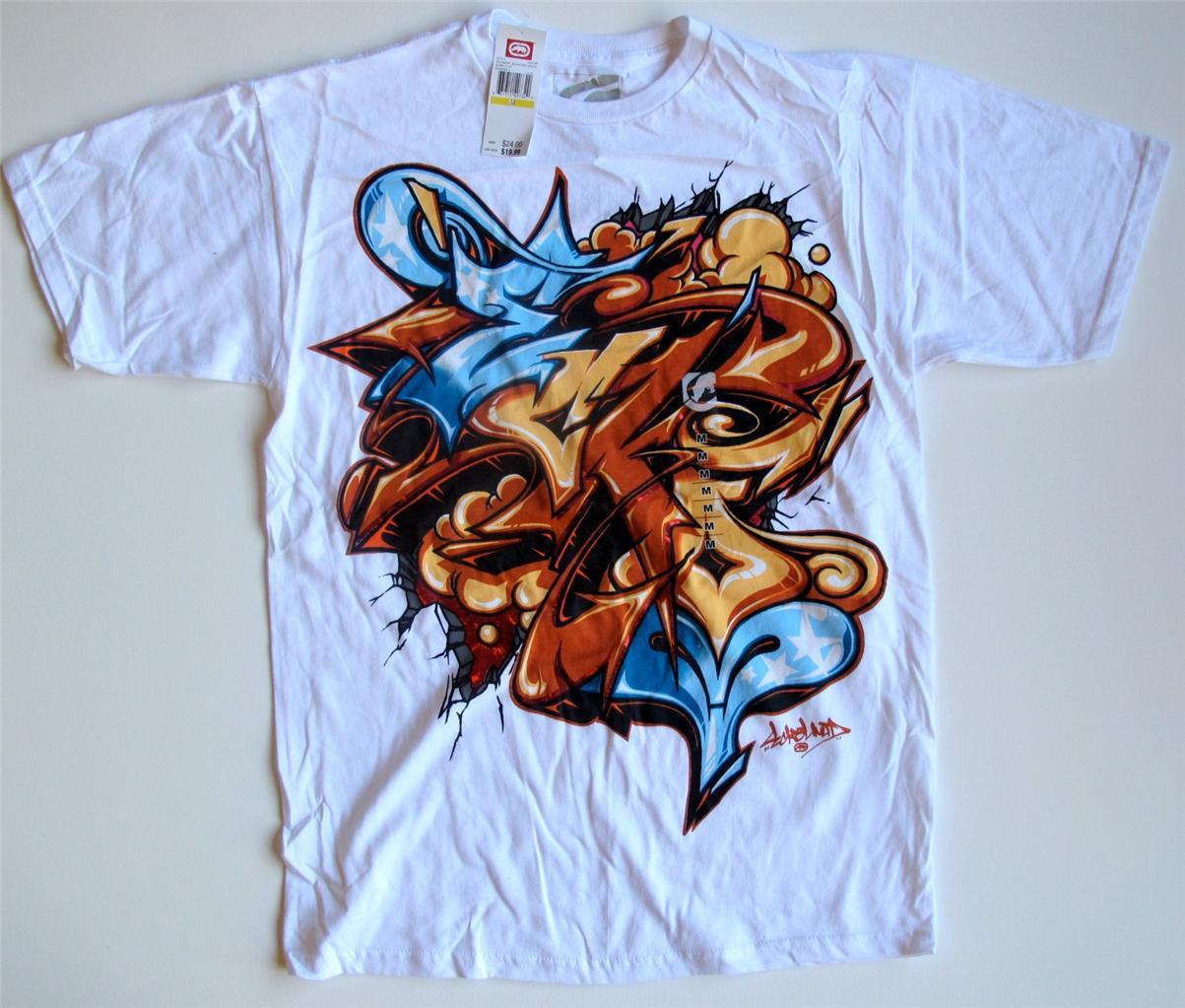 Ecko unltd white graffiti t shirt sizes s l xl 2xl 3xl msrp 24 00