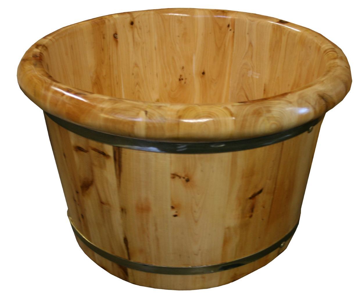 Round Wooden Portable Spa Massage Foot Bath Soaking Tub