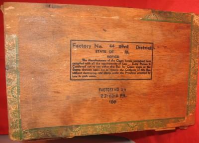 Vintage Cuban Gold Cigar Box Wood Store Display Panetela Humidor On