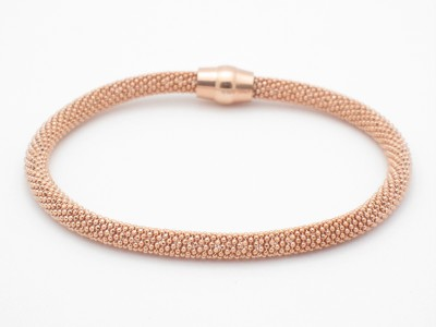 18k Rose Gold Silver Diamond Cut Soft Mesh Bracelet New
