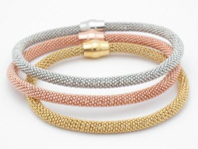 Tri Color Gold Silver Diamond Cut Soft Mesh Bracelet