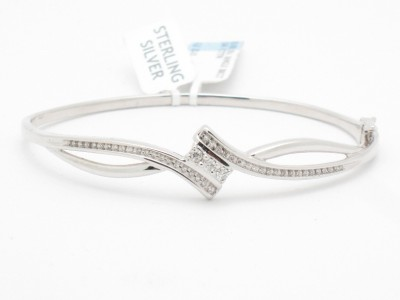 PLATINUM STERLING SILVER 925 UNIQUE DESIGNER DIAMOND BANGLE