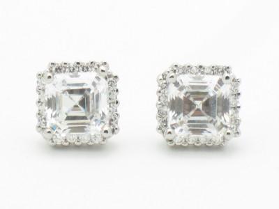 Platinum Silver Unique Diamond Set Cushion Cut Halo Design Stud Earrings Gift