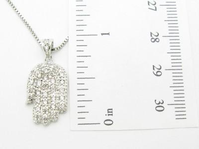 PLATINUM STERLING SILVER DIAMOND SET WHITE SAPPHIRE HAND OF GOD HAMSA PENDANT