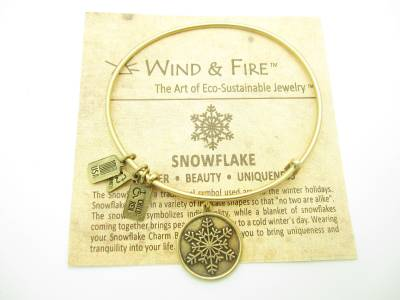 """Authentic Wind And Fire /""""Snowflake/"""" Charm Wire Bangle Bracelet Made In The USA"""