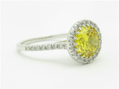 Platinum Sterling Silver Created Yellow Sapphire Round Cut Pave Halo Ring Gift