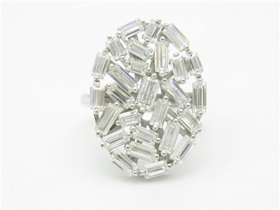Platinum Sterling Silver White Sapphire Baguette Halo Design Stud Earrings Gift