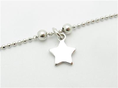 Platinum Sterling Silver Dangling Star Design Multi Station Anklet Bracelet Gift Jewelry & Watches