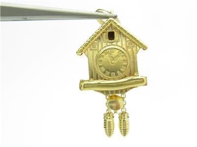 14k Yellow Gold Grandfather Clock Pendant