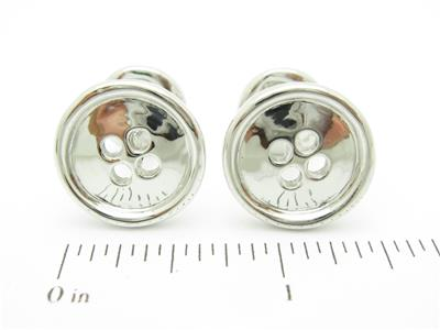 Platinum Sterling Custom Hand Made Button 3D Design Cufflink Bridal Gift