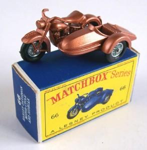 Matchbox Lesney 66 Harley Davidson Motorcycle and Sidecar 1962 MIB