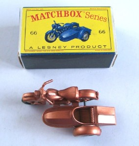Matchbox Lesney 66B Harley Davidson Motorcycle and Sidecar 1962 MIB