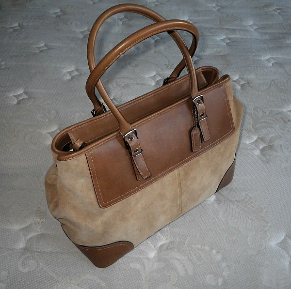 Image Is Loading Coach Vtg Hamptons Xl Camel Tan Suede Weekend