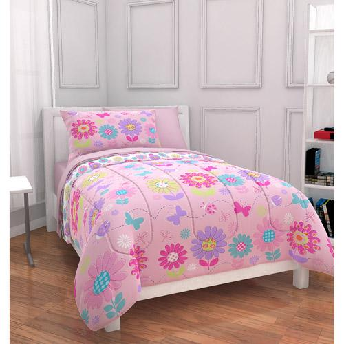 new mainstays kids daisy floral bed in a bag complete bedding set twin ebay. Black Bedroom Furniture Sets. Home Design Ideas