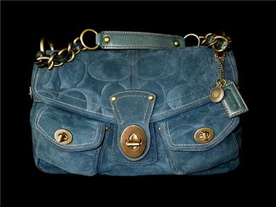 c2f01fe900d0 NEW Coach Leigh Legacy Navy Suede Embossed Large C Shoulder Flap Tote Bag  Purse
