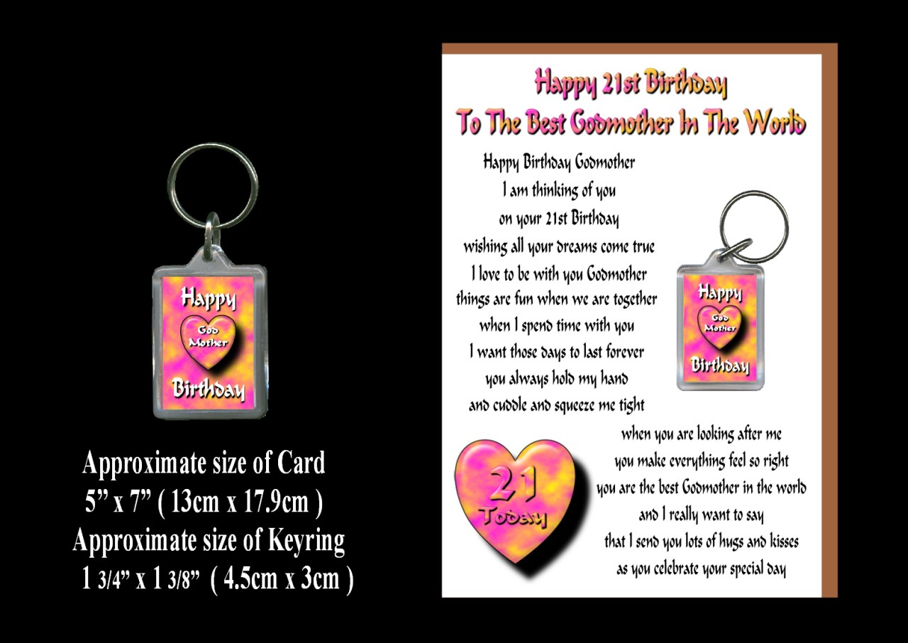 Happy Birthday Godmother Card: HAPPY BIRTHDAY GODMOTHER AGES 18 TO 60 CARD & KEYRING GIFT