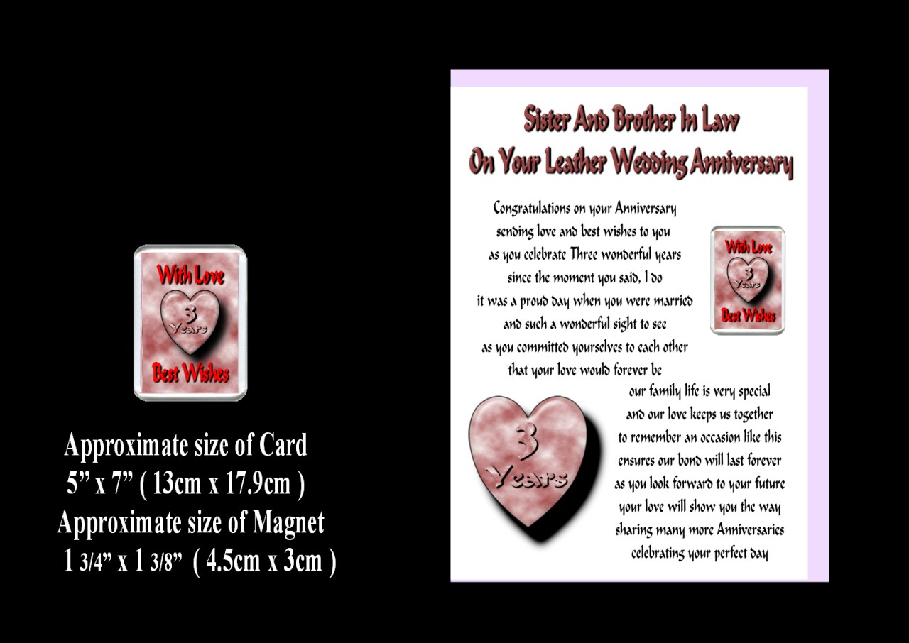 24th Wedding Anniversary Gift Ideas: Sister Brother IN LAW 1st TO 24th Wedding Anniversary Card