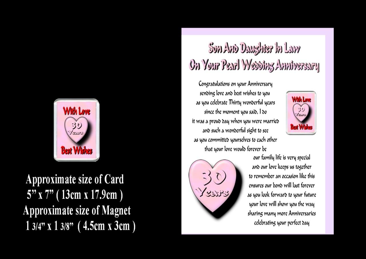 Wedding Anniversary Inspirational Poems Daughter Son In Law: SON & DAUGHTER IN LAW 1ST TO 30TH WEDDING ANNIVERSARY CARD