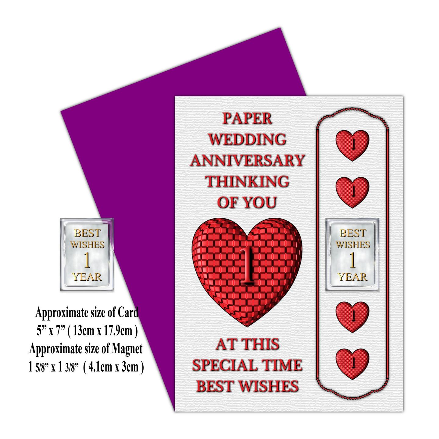 1st 24th Years Your Wedding Anniversary Card Magnet Gift