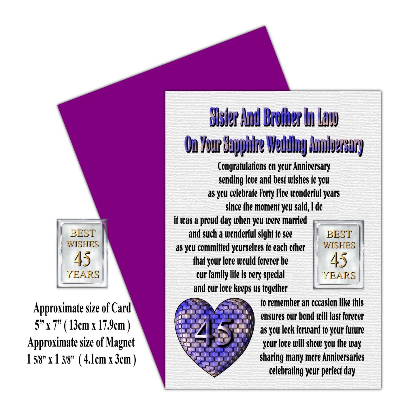 70 Year Wedding Anniversary Gifts: Sister Brother IN LAW 25th TO 70th Wedding Anniversary