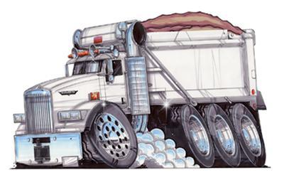 SEMI BIG RIG KENWORTH DUMP TRUCK CARTOON MENS T-shirt ...Kenworth Dump Trucks Graphics